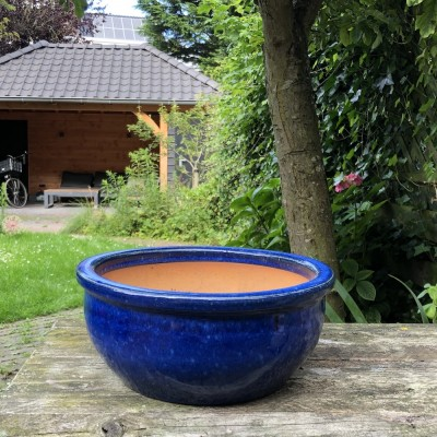 Blomstring pottery blue low small